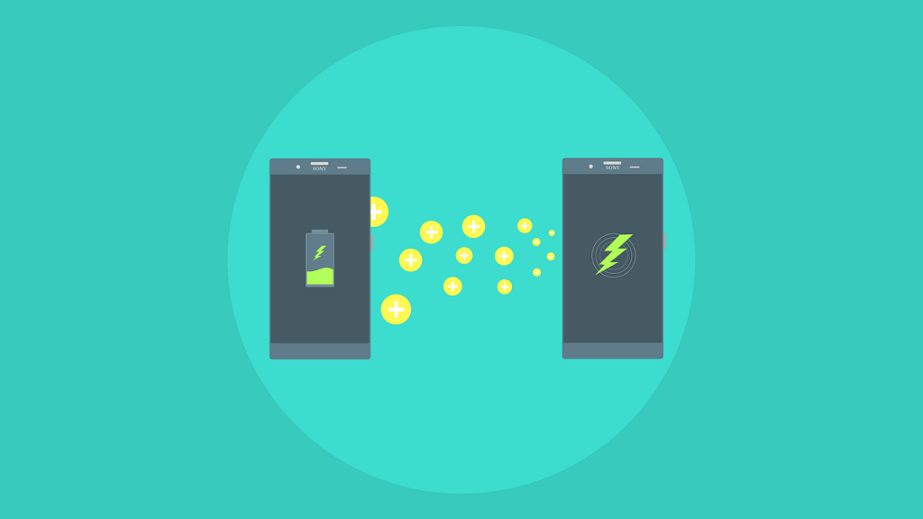 graphic of cell phones charging wirelessly