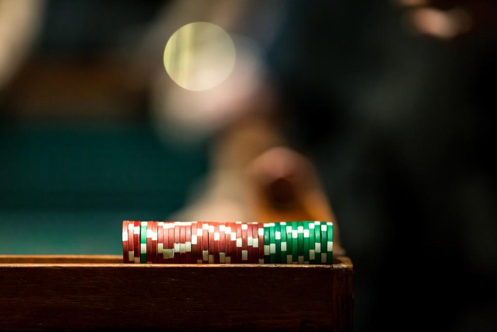 poker chips racked up
