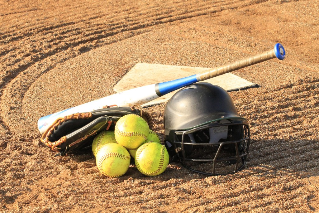 softball equipment on home base