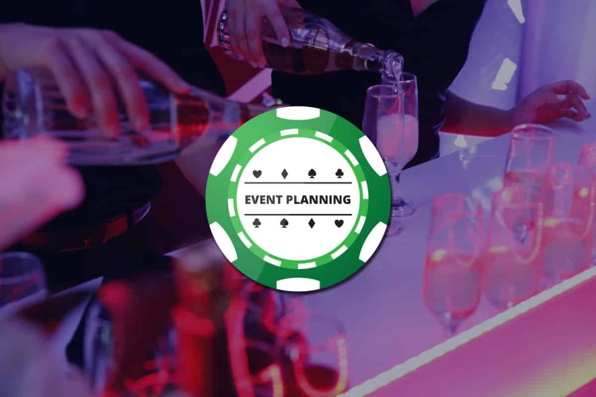 Green Poker chip graphic with Event Planning written on it over background picture of champagne being poured