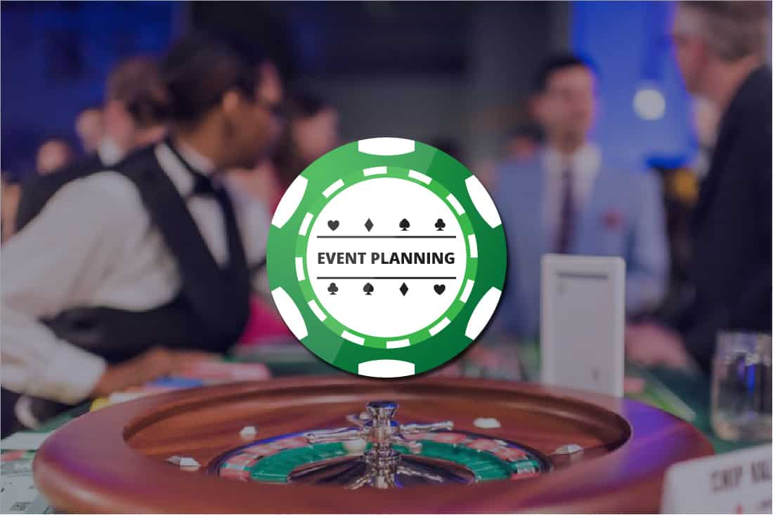 Green poker chip graphic with Event Planning written on it over background picture of roulette wheel in focus at event