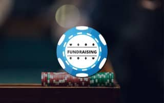 Poker Chip grpahic with Fundraising written over a picture of poker chips in wooden rack