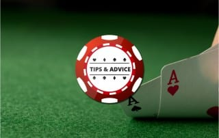 Red poker chip graphic with Tips & Advice written on it over background picture of two card Aces