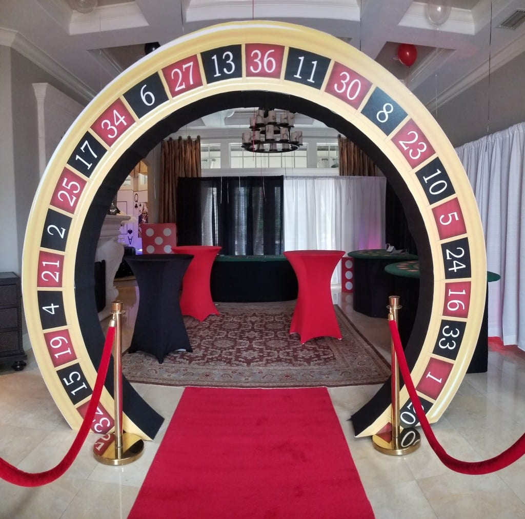roulette themed arch entryway