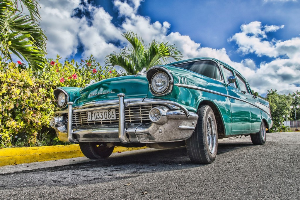 vintage car in tropical setting