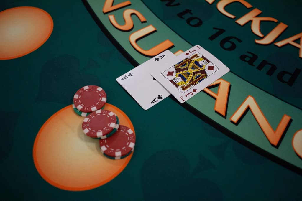 Ace and Jack on blackjack table